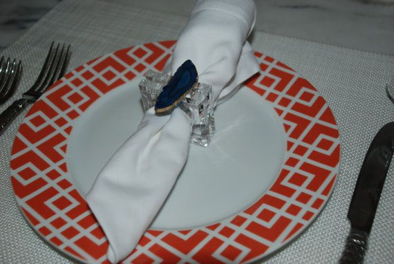 Custom Acrylic and Agate Slice Napkin Rings by DodeandSwanDesigns, $60.00