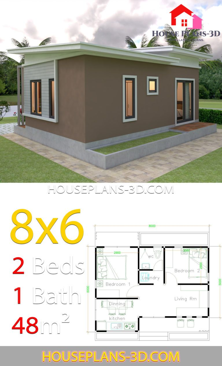 House Plans 8x6 With 2 Bedrooms Slope Roof House Plans 3d In 2020 House Plans Two Bedroom House House Design Pictures