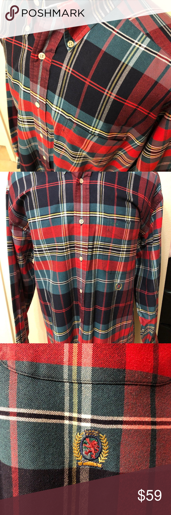 bdf7d076a vintage tommy hilfiger shirt large check plaid vintage tommy hilfiger men's  shirt large check plaid red