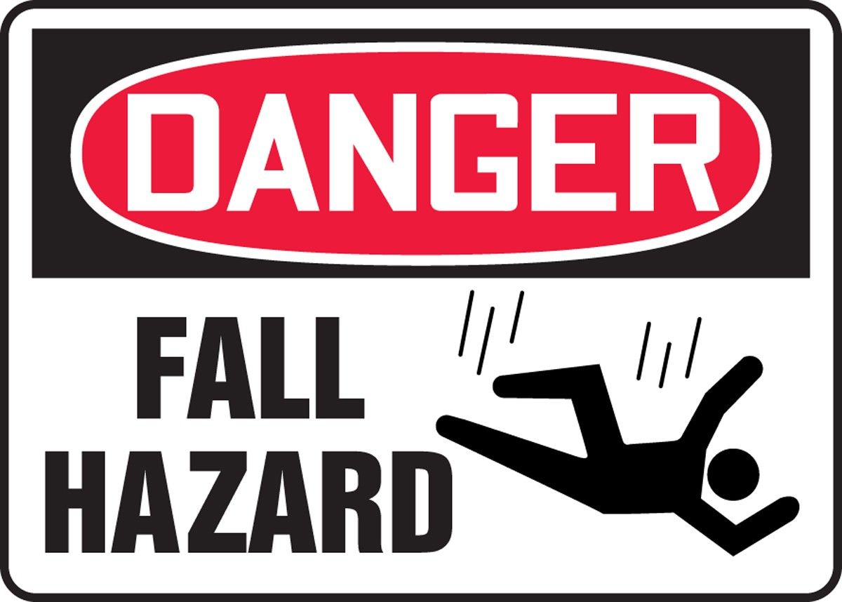 Danger Fall Hazard Sign First Aid And Safety Supplies