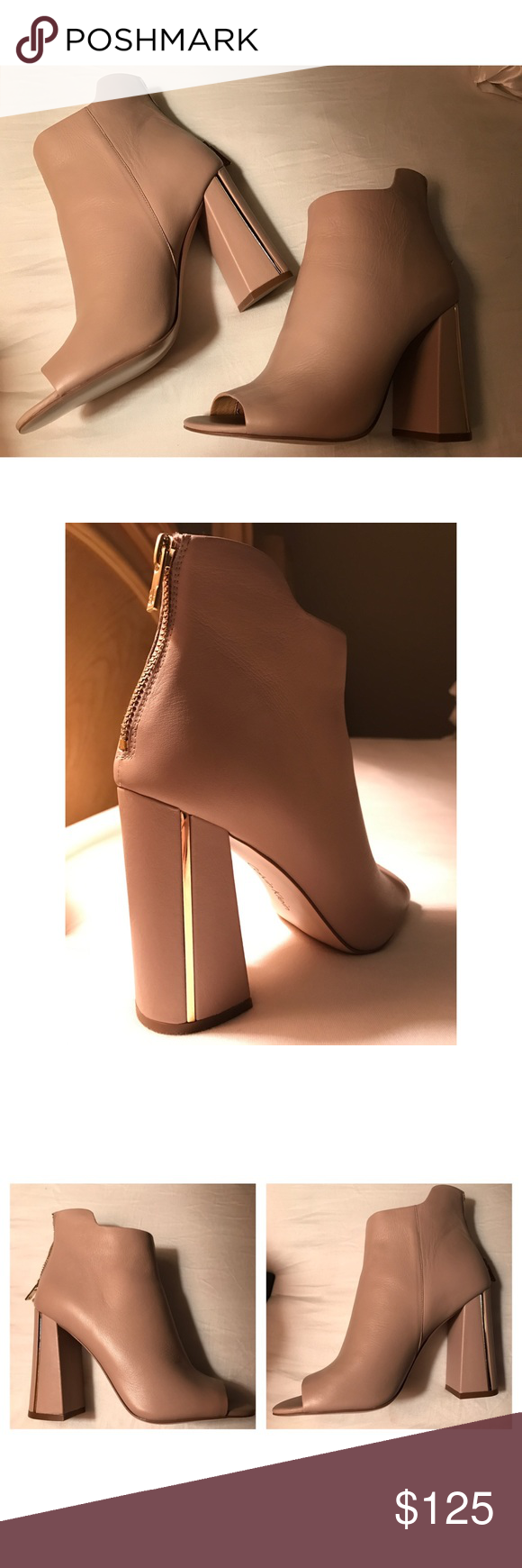 NEW! Calvin Klein Nude Peep Toe booties Size 7. Nude Calvin Klein peep toe booties with chunky heel and gold piping. Zipper closure on back of heel. No scuffs, never worn. Calvin Klein Shoes Ankle Boots & Booties