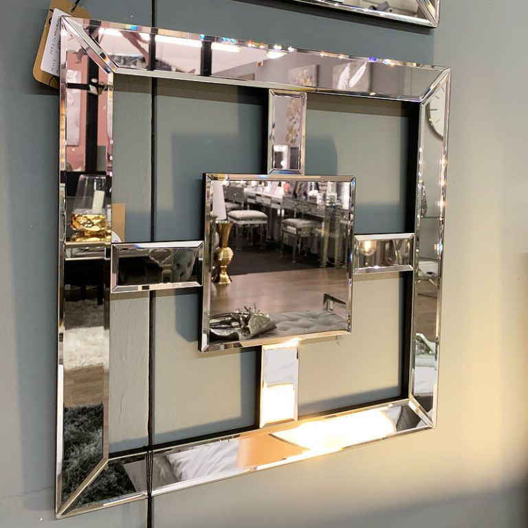 madison white silver mirrored geo mirror wall art home on mirror wall id=33042