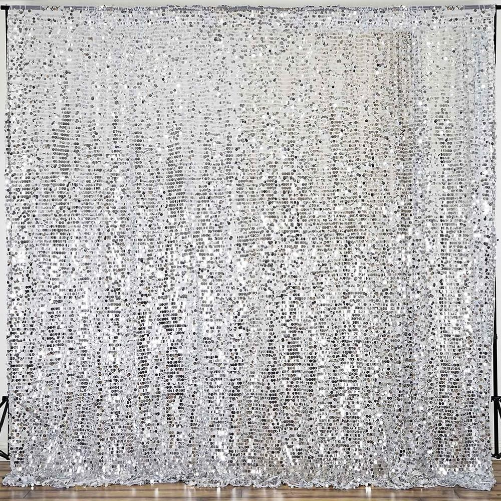 20ft Silver Big Payette Sequin Curtain Panel Backdrop Wedding