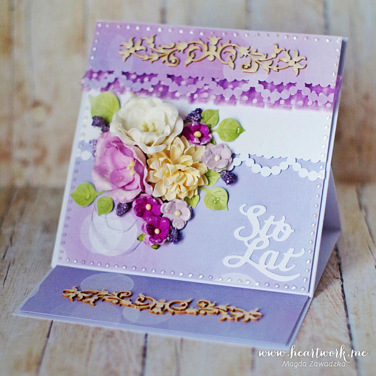 fioletowe kartki urodzinowe