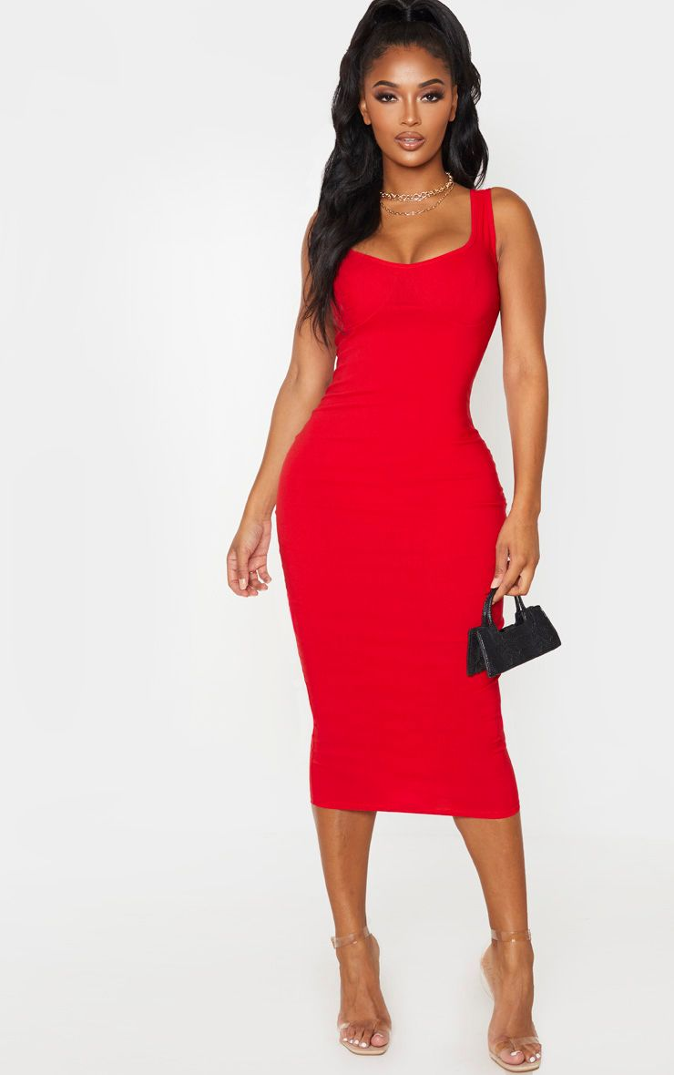 Shape Red Cup Detail Strappy Midi Dress Strappy Midi Dress Red Midi Dress Midi Dress Chic [ 1180 x 740 Pixel ]