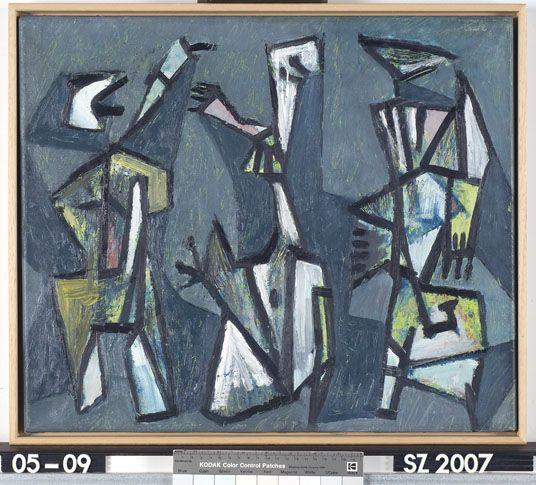 Compositie - Jan Roëde - zonder jaar  Maat: 46cm x 55cm  Materiaal: olieverf op doek  Inventarisnummer: SZ2007