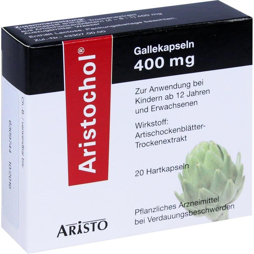 ARISTOCHOL Gallekapseln:   Packungsinhalt: 20 St Hartkapseln PZN: 02031430 Hersteller: Aristo Pharma GmbH Preis: 3,31 EUR inkl. 19 %…