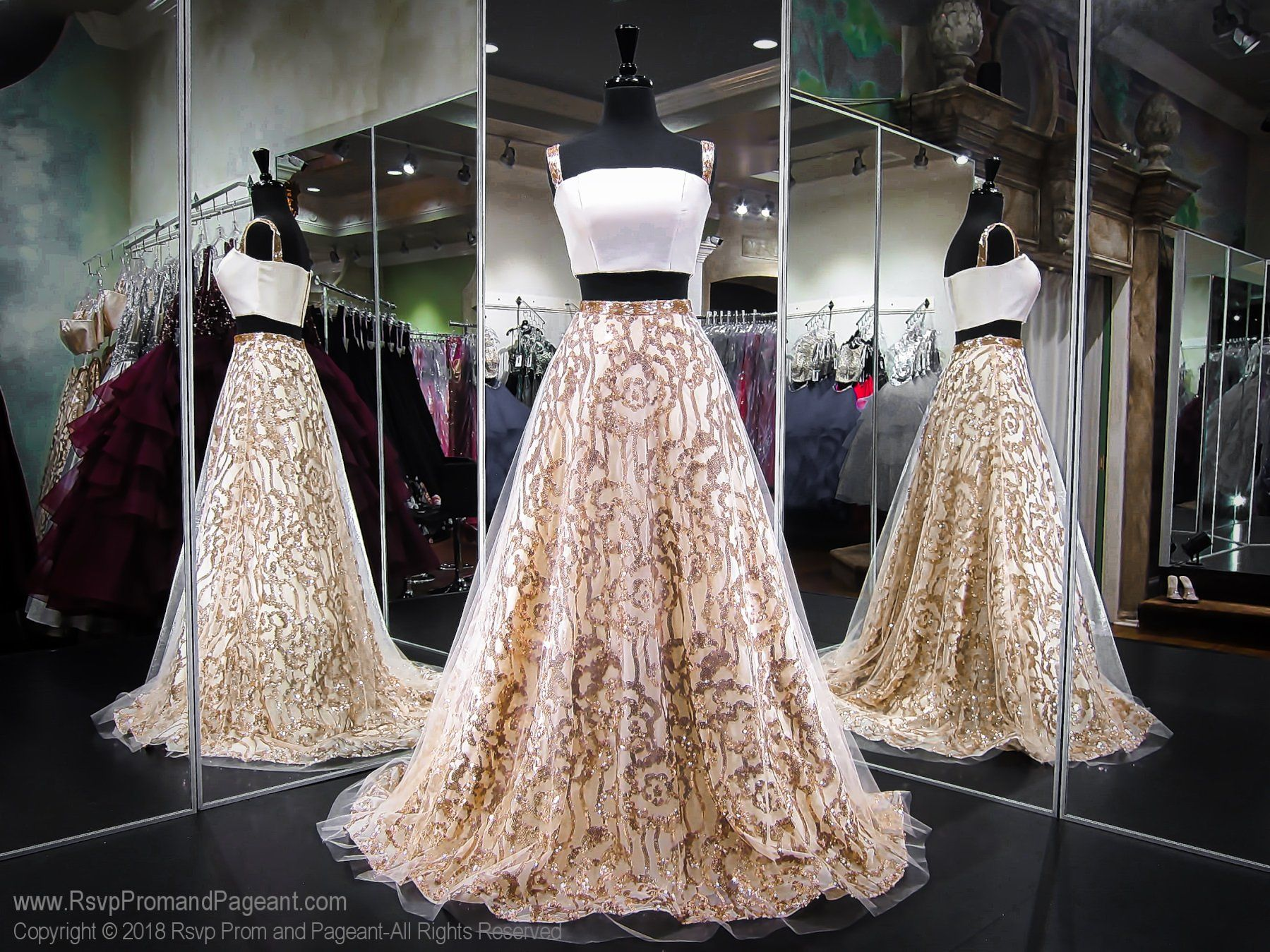 Gold off the shoulder ball gown prom dress gold dresses