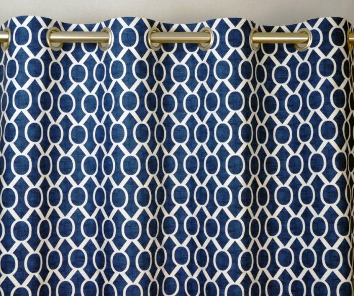 Navy Blue And White Honeycomb Drape, One Grommet Top Curtain Panel 96  Inches Long X 50 Inches Wide. Coral Shower Curtains ...