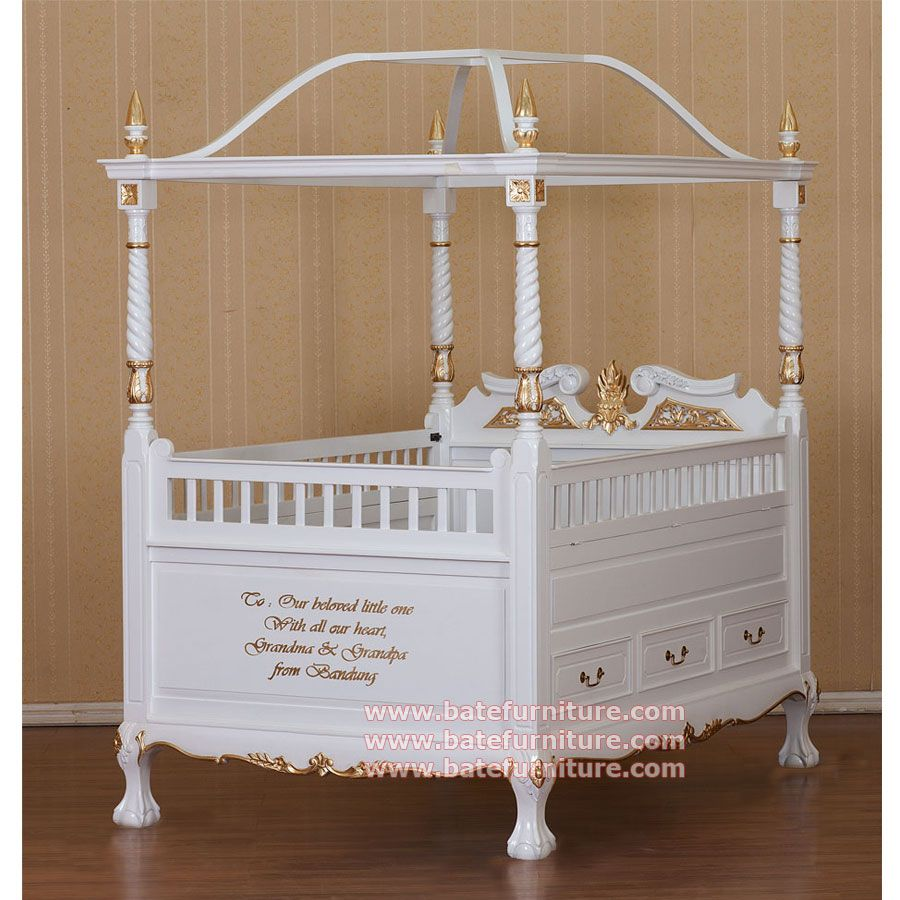 canopy crib | Canopy Baby Crib for your baby. This white gold ...