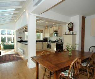 Airy Modern Open Plan Quaint Spacious Beige Brown White Conservatory Diner Dining Room Kitchen
