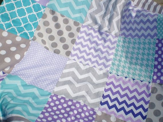 Baby quiltTealgreylavenderpurpleaquaPatchwork Crib by happyquilts