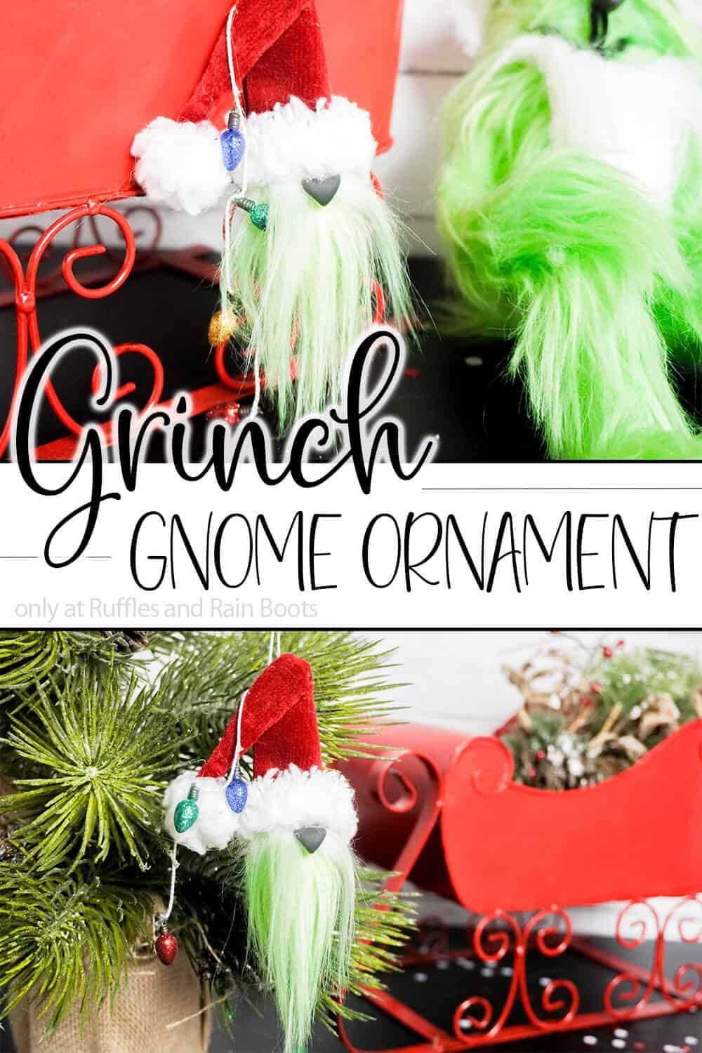 How To Make A Grinch Gnome Ornament In Minutes Gnome Ornaments Christmas Ornament Crafts Diy Christmas Ornaments