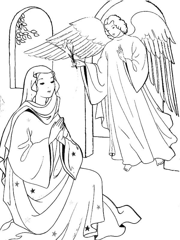 Angel Appears to Mary Coloring Page  sunday school  Pinterest