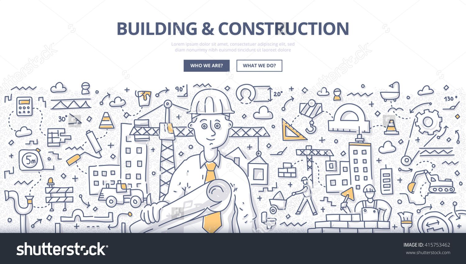 Doodle Vector Illustration Of Construction Contractor With