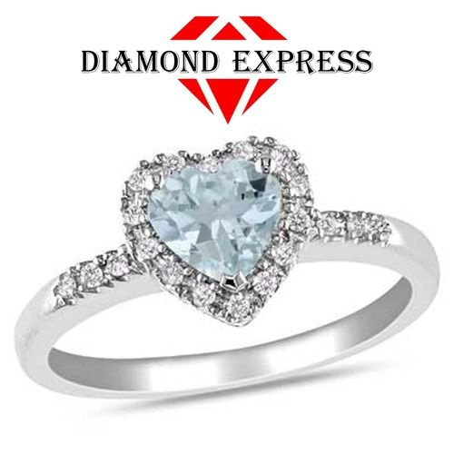 1 10 Ct Aquamarine 14k Gold Heart Promise Ring Quot Mother S