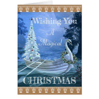 Christmas Card Magical Swan Xmascards Christmaseve Christmas