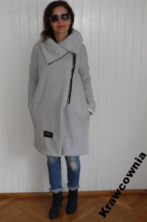 Krawcownia Szary Dresowy Plaszcz Oversize 44 46 48 Fashion Normcore Style