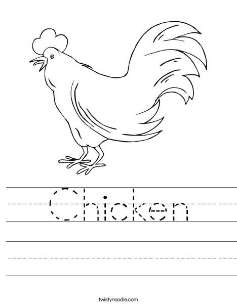 Letter c coloring pages for toddlers : Chicken Worksheet from TwistyNoodle.com LETTER C Pinterest