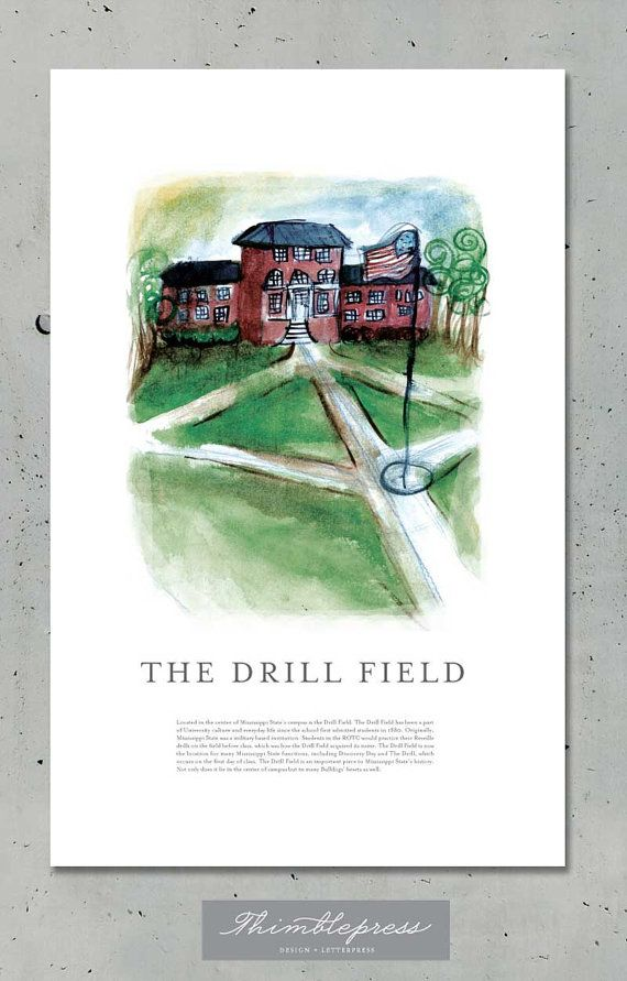 Print Of Drill Field Painting By Former Msu Student Kristen Ley