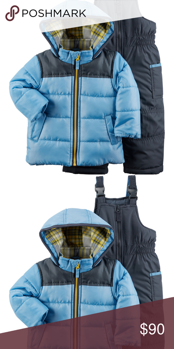 4cb2e70bd New Carters 12 Months Baby Boy Snowsuit Set Jacket 2-piece set Insulated  and lined Zip-front design Warm plaid fleece-lined hood Cargo pocket  Colorblock ...
