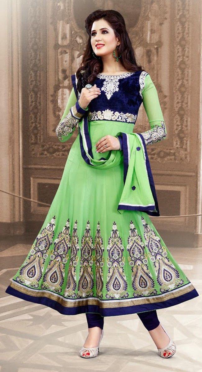 4052a28d57 Marvelous Deep Mint Green & Royal Blue Salwar Kameez Punjabi Suits, Anarkali  Suits, Pakistani