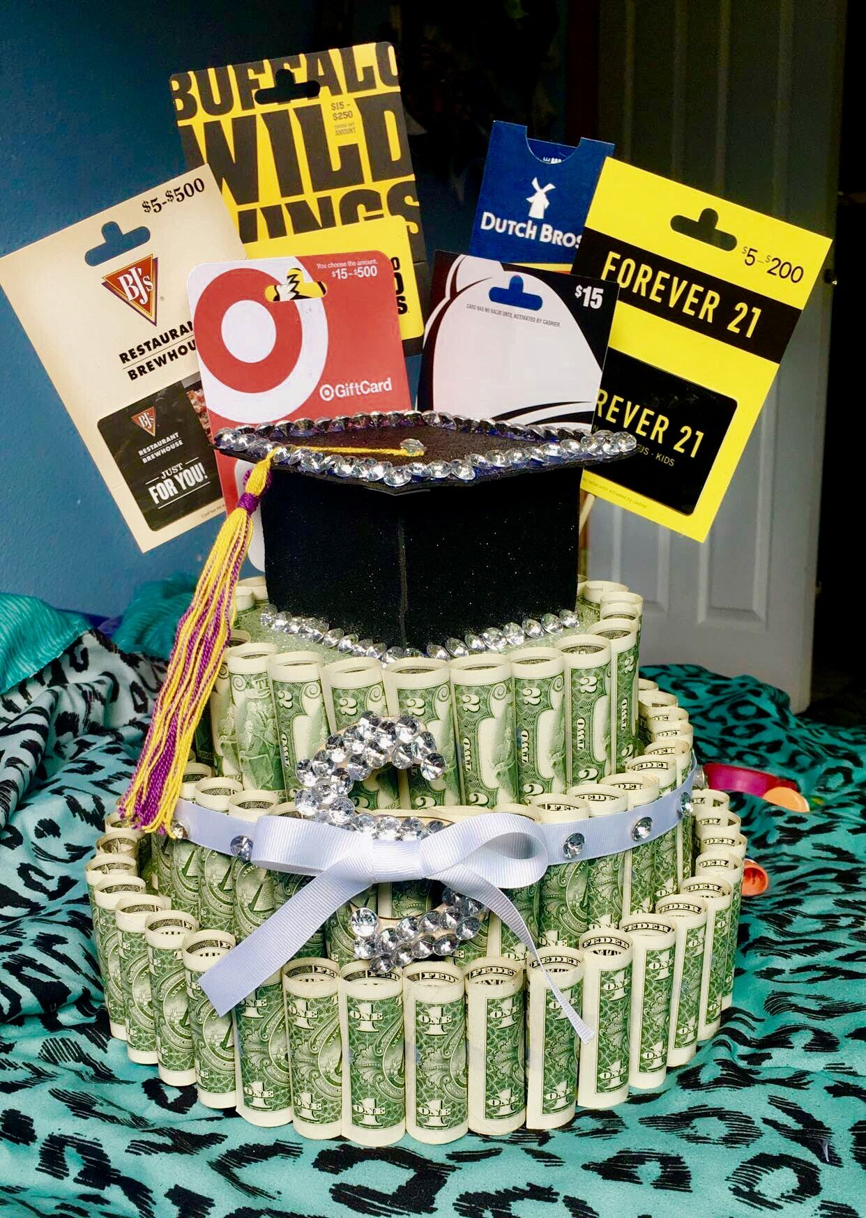 Graduation money and gift card cake (With images