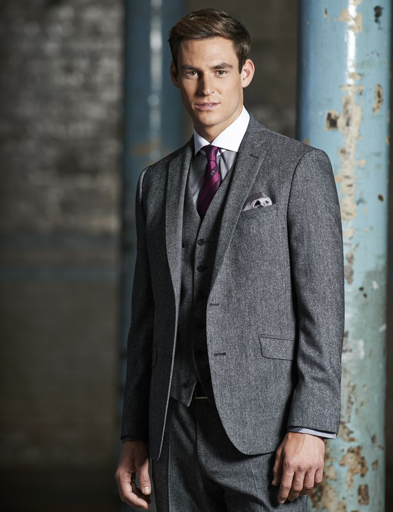 Stvdio by Jeff Banks Grey Donegal Tailored Fit Three Piece Suit
