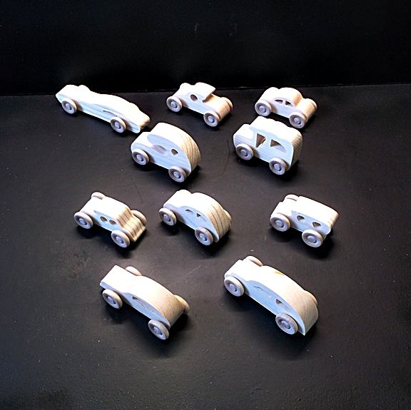 10 Handcrafted Wood Toy Cars OT-53 Unfinished Or Finished