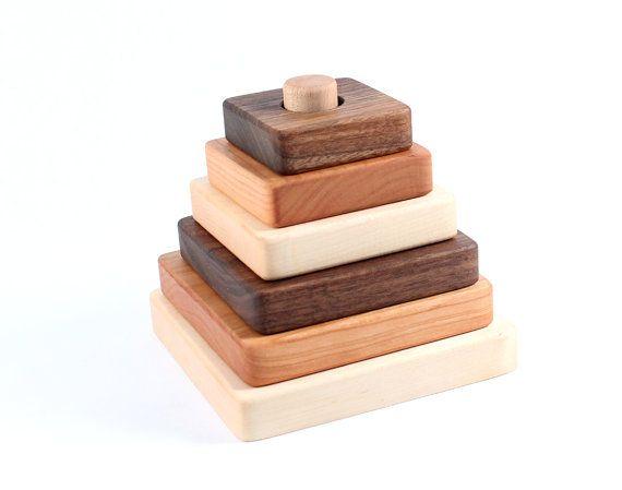 JOUET empilable en bois - tout héritage naturel bois empileur avec homegrown organique fini, montessori d'apprentissage idéal pour la taille...
