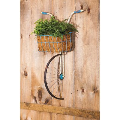 Evergreen Enterprises Inc Front Basket Metal Bicycle And Planter Wall Decor Outdoor