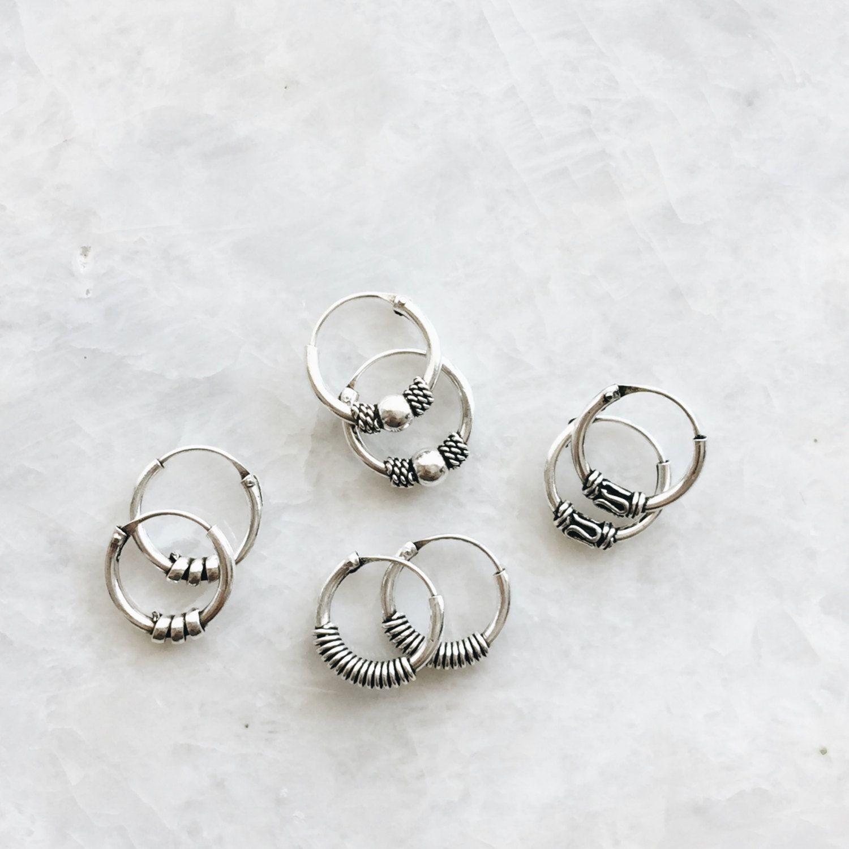 71c408a98 10mm plain Bali hoops mixed lot set, Set of sterling silver Bali hoops, Tiny  balinese silver hoop earrings, Ethnic hoops, Tribal hoops (H96) by  SilverCartel ...