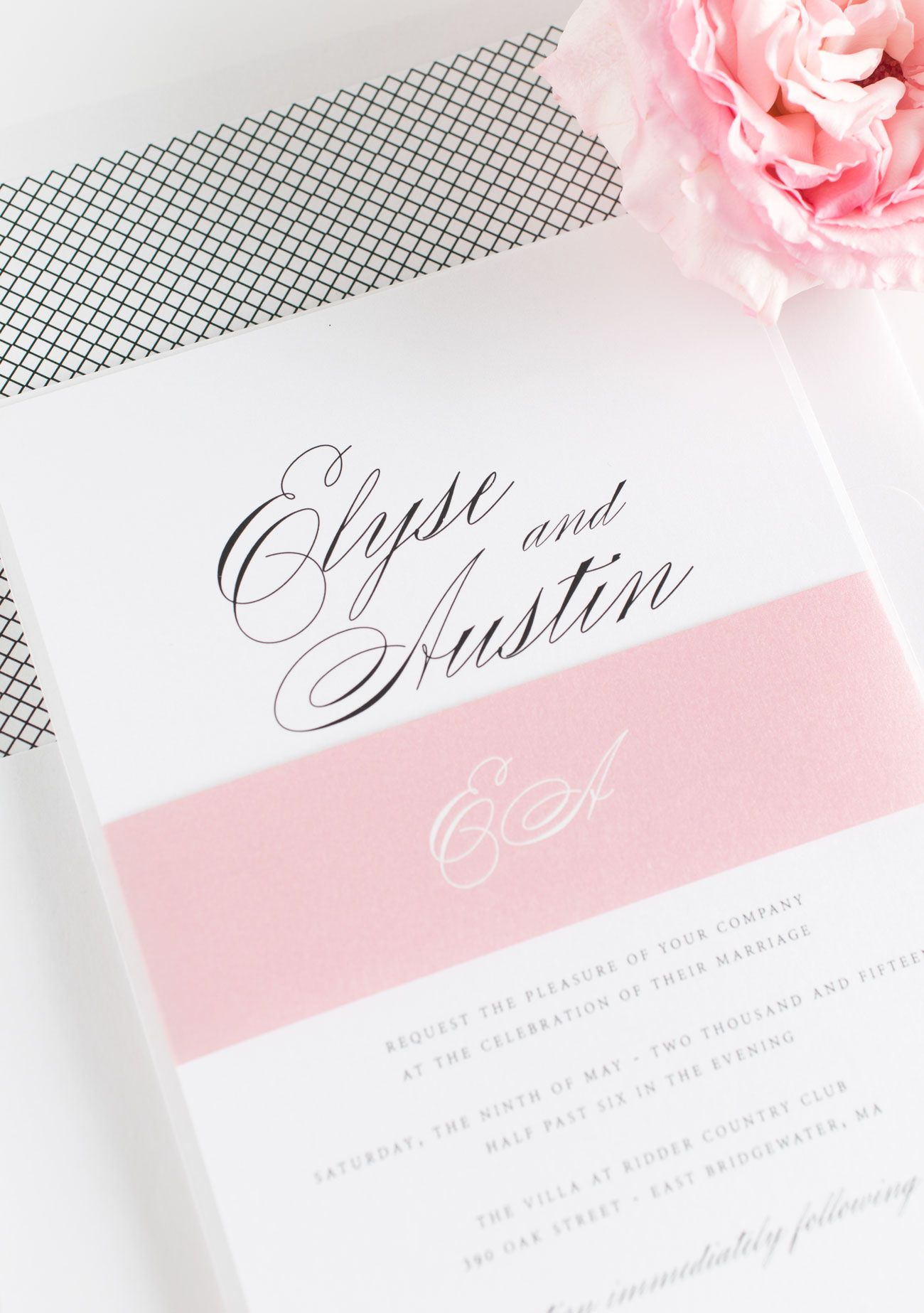Blush Pink Script Wedding Invitations With A Black And White Crosshatch Envelope Liner