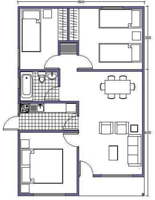 Casas prefabricadas de una planta 3 habitaciones planos for Disenos y planos de casas prefabricadas