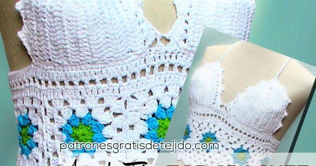 Bellísimo Y Fácil De Realizar Top Tejido Al Crochet Con Grannys O Cuadros De Crochet Crochet Tutorial Crochet For Beginners