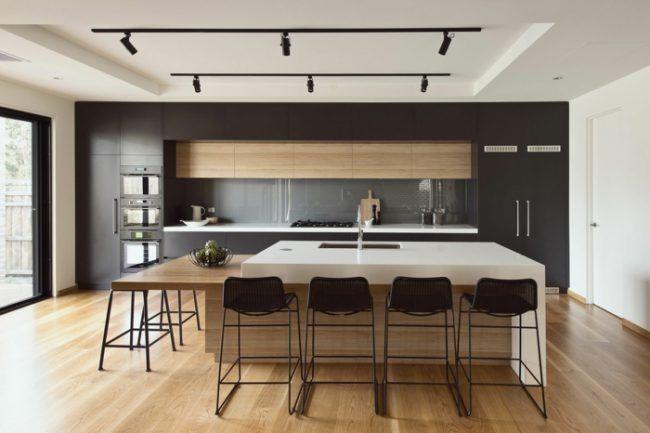 küche design modern graue schränke kücheninsel barhocker holz - küchen modern design