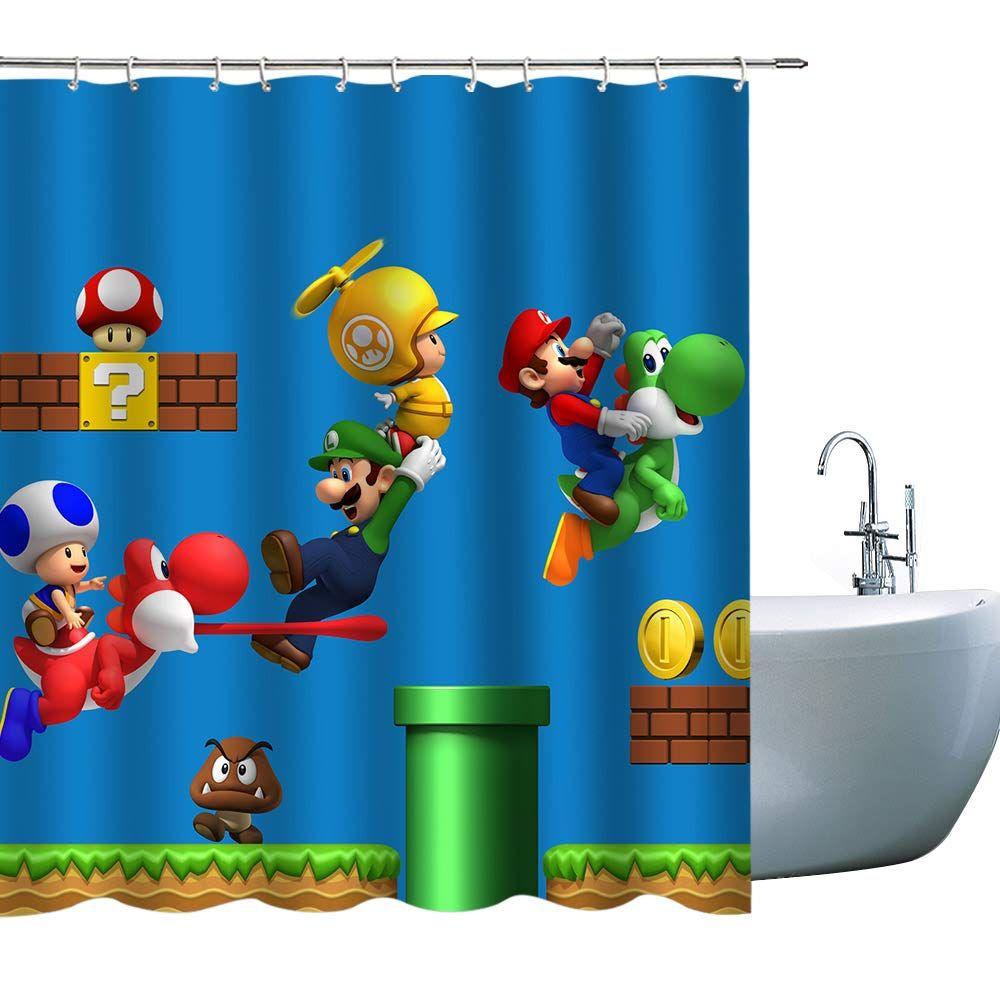 Kids Cartoon Shower Curtains Super Mario 3d Print Children Shower