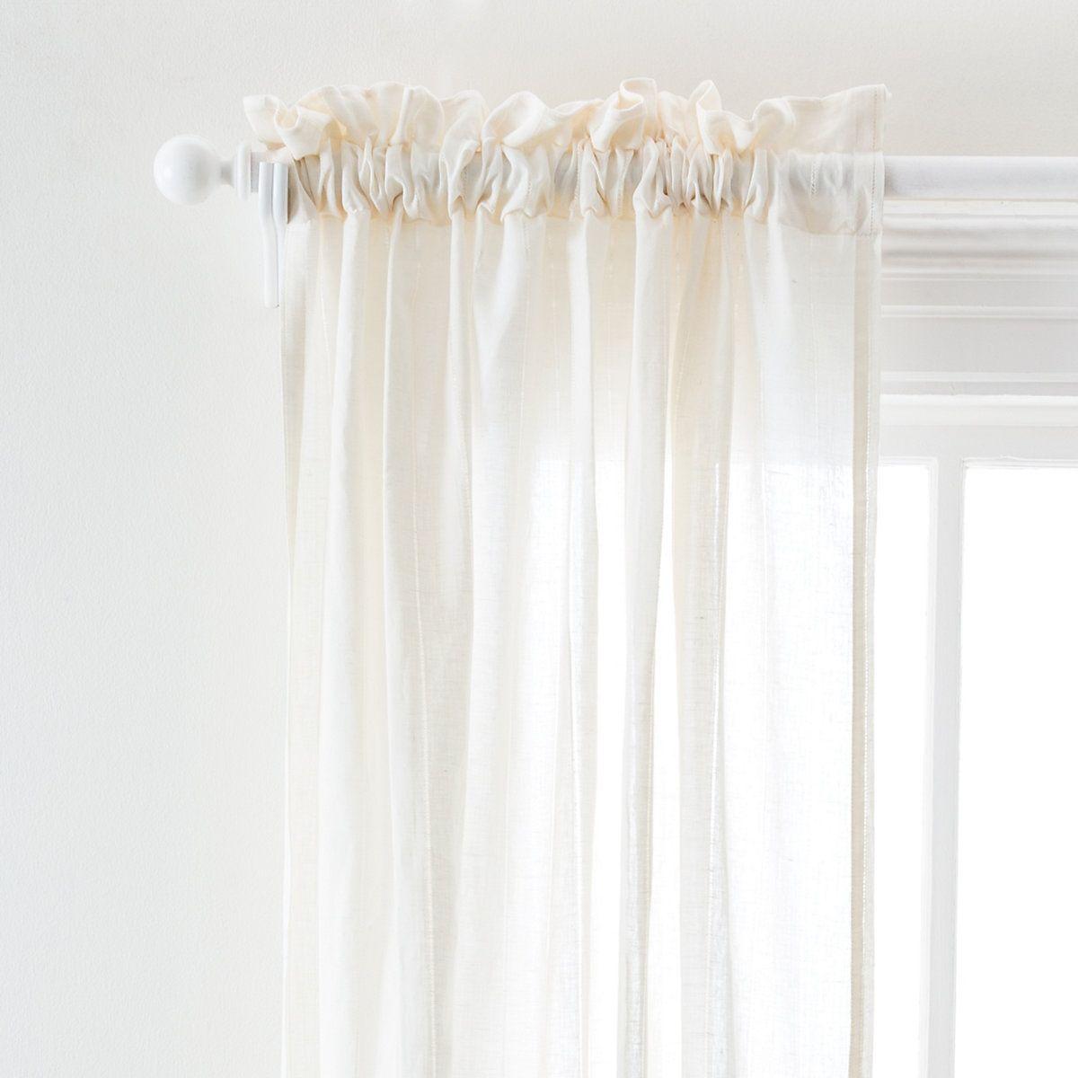 Hemstitch Stripe Ivory Curtain Panel Pine Cone Hill Ivory