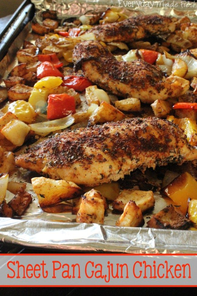 A sheet pan lined with foil for virtually no clean-up, chicken breasts, potatoes, peppers, and onions topped with a Cajun spice mix make this Sheet Pan Cajun Chicken a week-night favorite!   EverydayMadeFresh.com