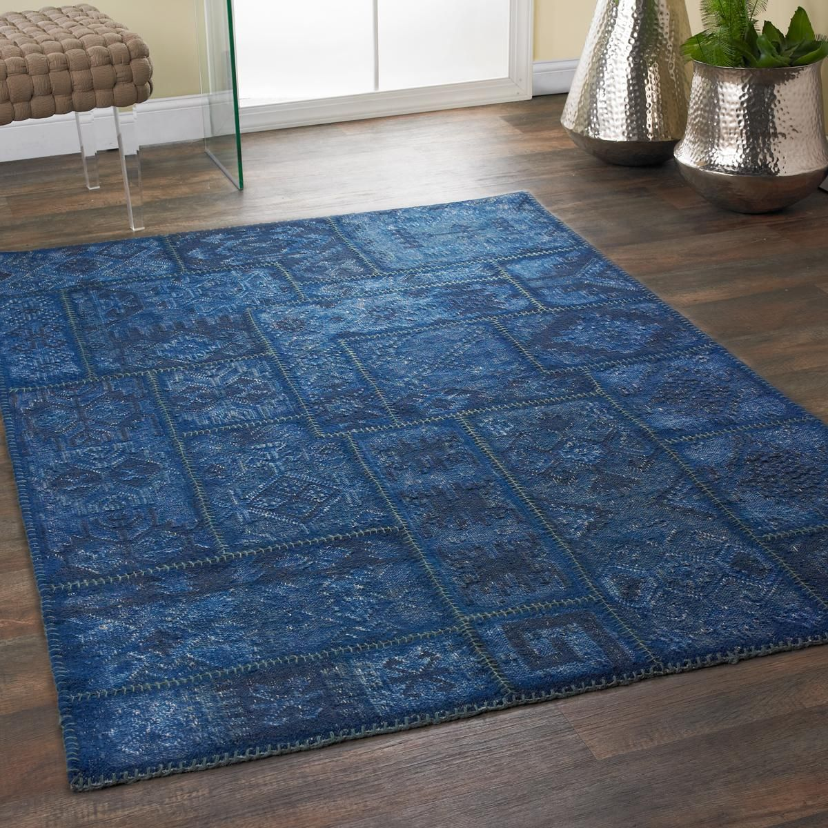 Patchwork Kilim Overdyed Wash Rug Sections Of Flatweave