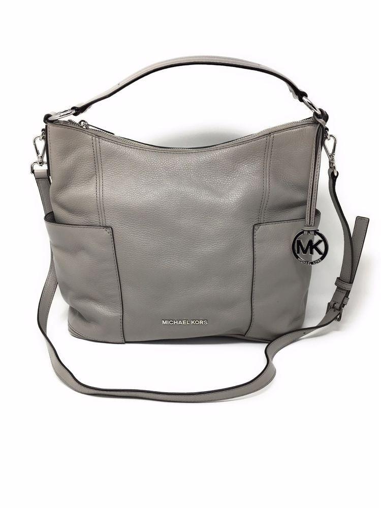 Details about NWT Michael Kors Large Anita Pearl Grey Leather Shoulder Hobo Crossbody Bag