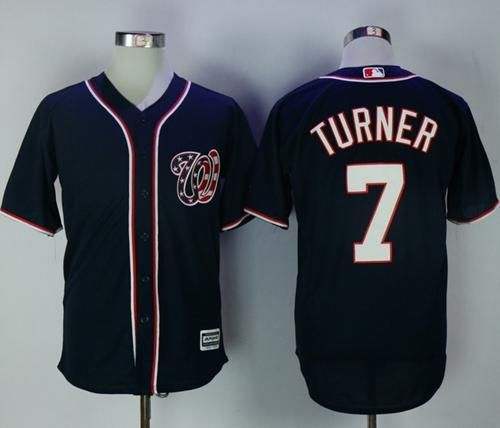 quality design 5672f d783b Nationals #7 Trea Turner Navy Blue New Cool Base Stitched ...