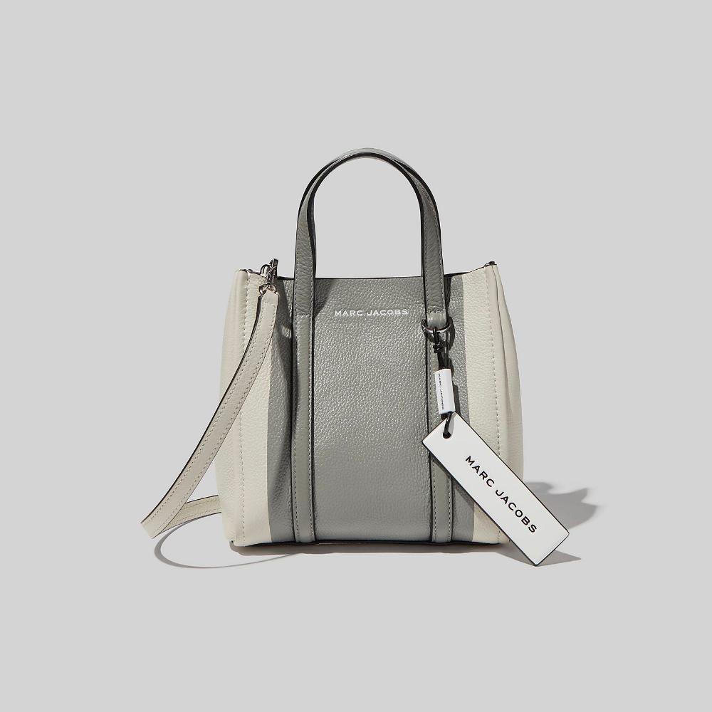 THE Mini Tag Tote Marc Jacobs in Fog Grey Multi | Mini tote bag ...