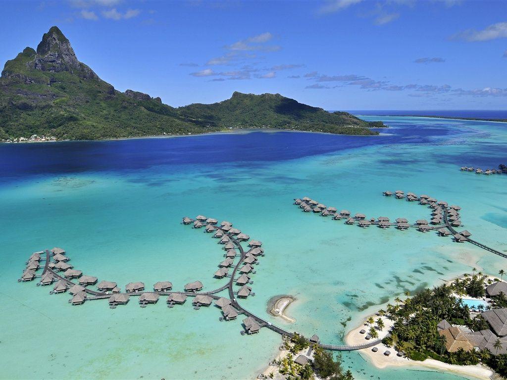 Bora Bora Island, Meer, Strand, Häuser Hintergrundbilder -