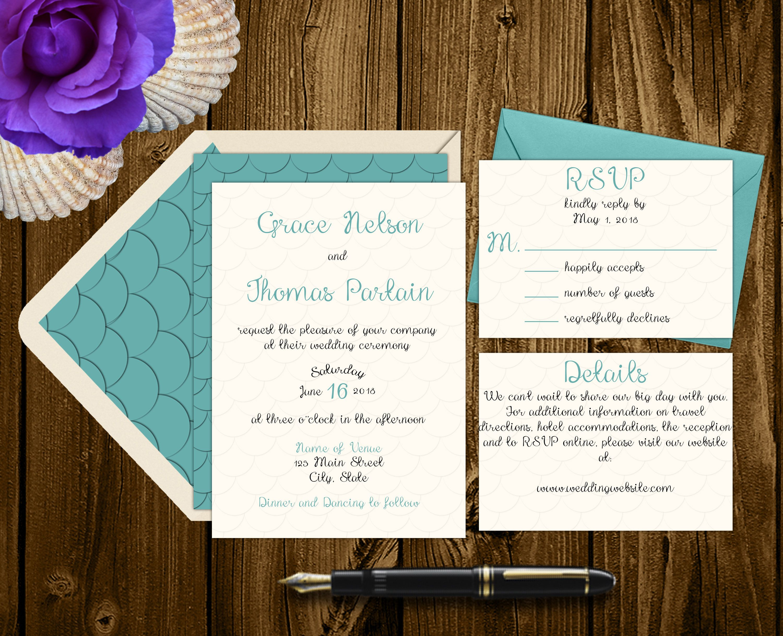 Sea-Foam Wedding Invitation Suite - Beach Wedding - Mermaid Wedding ...