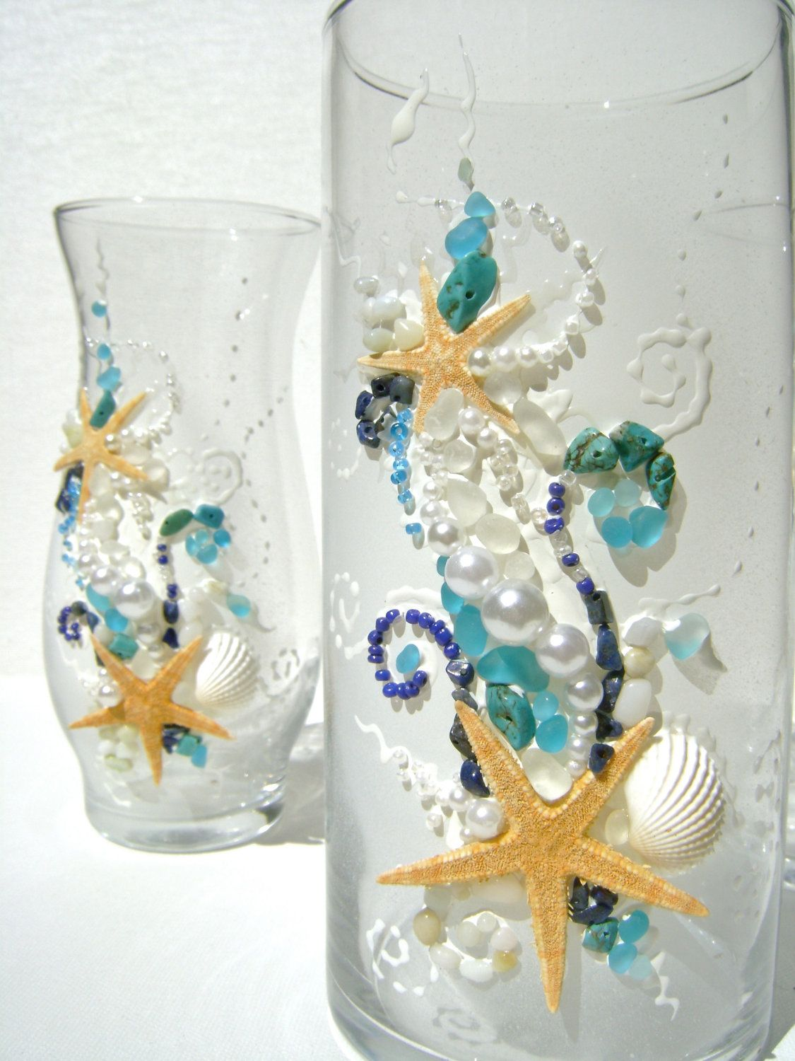 Beach wedding unity sand set, hand decorated with real starfish, sea ...