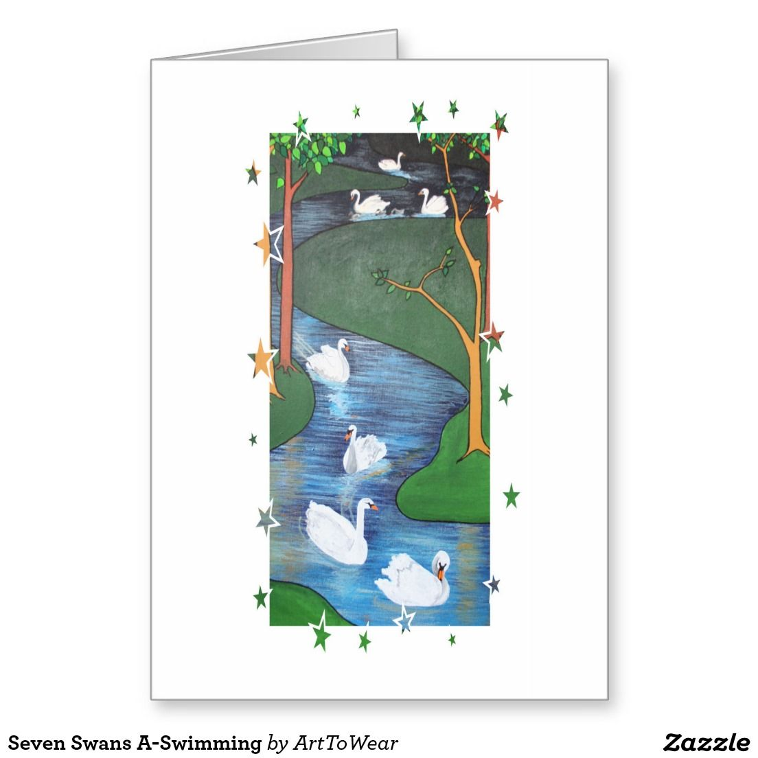 Seven Swans A Swimming Greeting Card Christmas Cards And Gifts