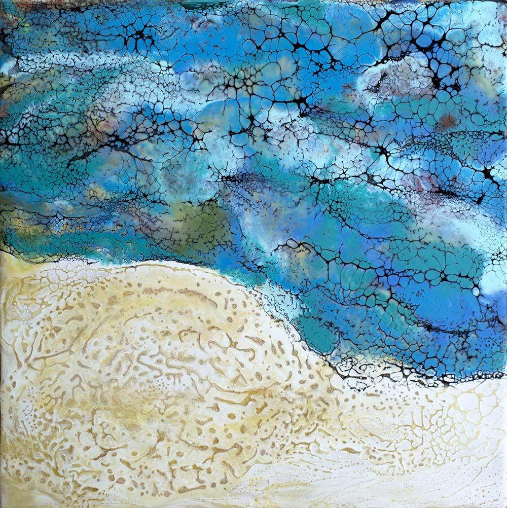 Transition 63 - Coastline. Encaustic on plywood. 40cm x 40cm.  See more of my work on www.gaylereicheltart.com/