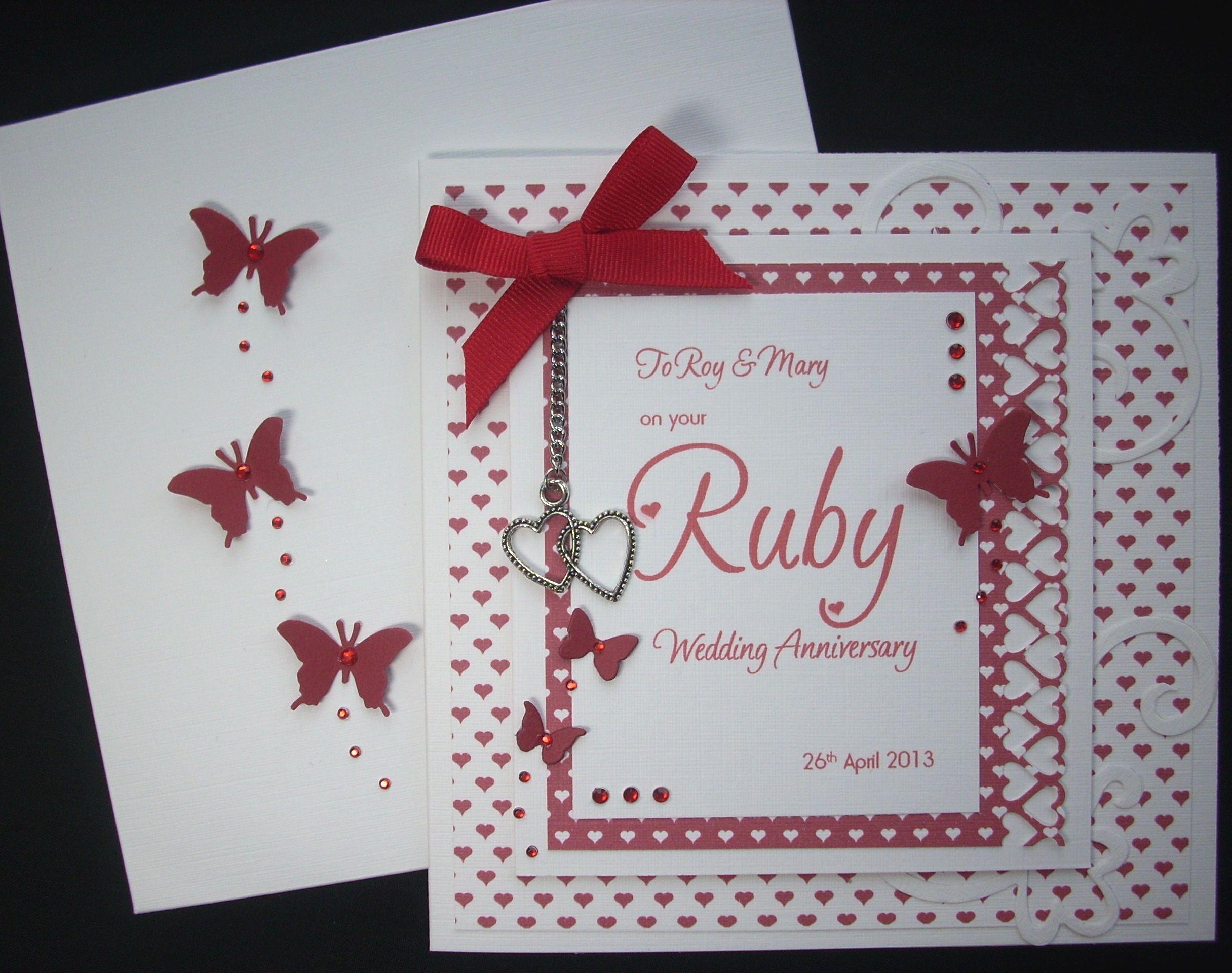 Ruby Wedding Anniversary card | wedding | Pinterest | Ruby wedding ...