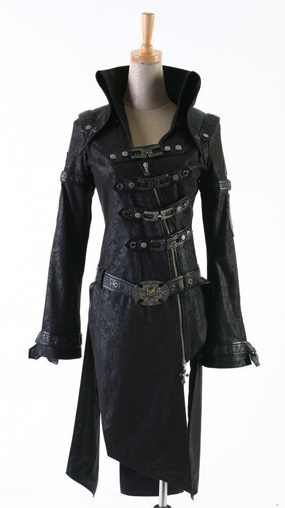Fashion Punk Streampunk Coat Jacket Visual Kei Black Motorcycle Gothic Trench Alternative Measures